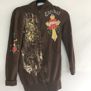 Ed Hardy by Christian Audiger small hoody, brown